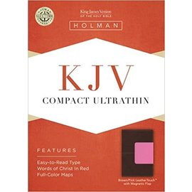 KJV Compact Bible, Brown/Pink w/Magnetic Flap