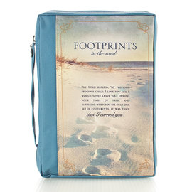 Bible Cover - Canvas, Footprint Poem, Medium