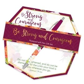 Notepad & Pen Set - Strong and Courageous