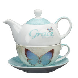 Tea for One Set - Grace, Blue Butterfly