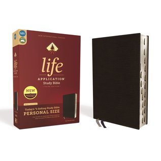 NIV Personal Size Life Application Study Bible 3, Black Bonded Leather, Indexed