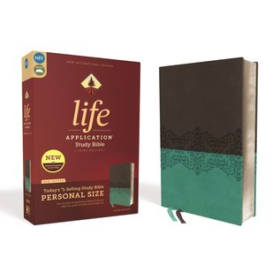 NIV Personal Size Life Application Study Bible 3, Gray/Teal Leathersoft