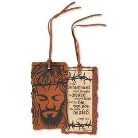 Bookmark - Jesus Face, Leather