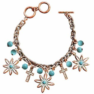 Bracelet - Faith Gear, Flower Cross (Copper)