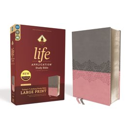 NIV Large Print Life Application Study Bible 3, Gray/Pink Leathersoft