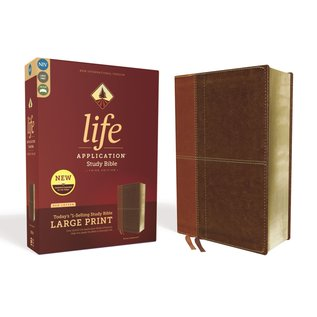 NIV Large Print Life Application Study Bible, Brown Leathersoft