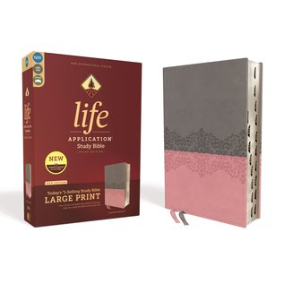 NIV Large Print Life Application Study Bible 3, Gray/Pink Leathersoft, Indexed