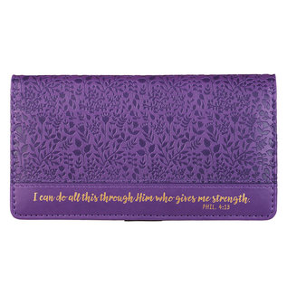 Checkbook Cover - I Can Do All Things, Purple