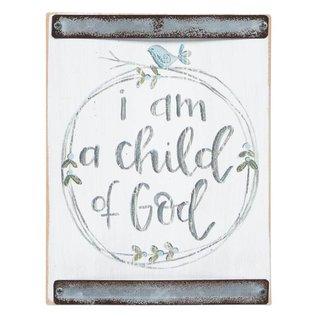 Child Of God (Blue Bird) White Wood Block Sign