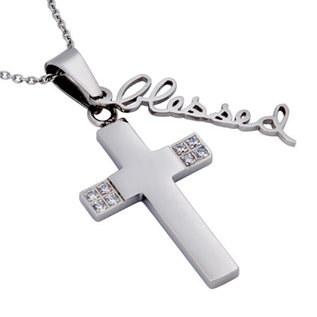 "CZ Handwriting Cross Necklace: Blessed 18"" Stainless Steel"