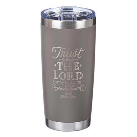 Stainless Steel Tumbler - Trust in the Lord, Taupe