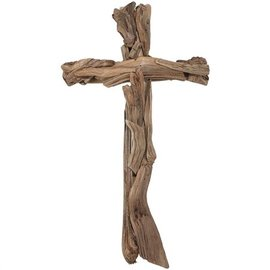 Wall Cross - Wood Strips, 15.75""