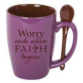 Mug - Worry Ends When Faith Begins, Spoon