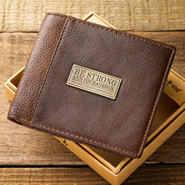 Men's Wallet - Be Strong and Courageous, Brown