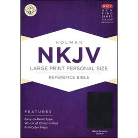 NKJV Large Print Personal Size Reference Bible, Black Genuine Leather