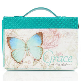 Bible Cover - Grace Teal Butterfly, Medium