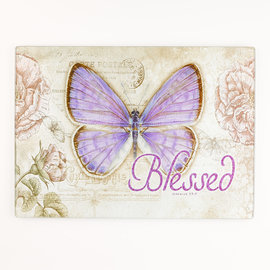 Cutting Board - Blessed Purple Butterfly, Glass