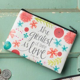 Coin Purse - The Greatest of These is Love, Zippered