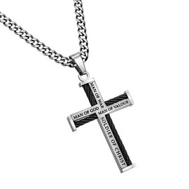 "Cable Cross Necklace: Man of War 24"" Stainless Steel"