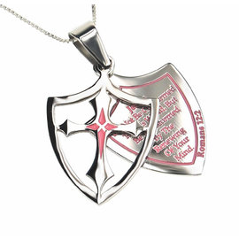 "Shield Cross Necklace: Transformed 18"" Stainless Steel"