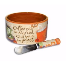 Dip Bowl and Spreader - Coffee