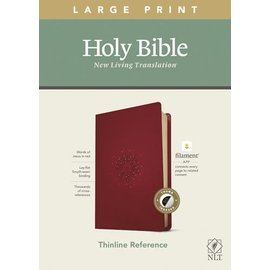 NLT Large Print Thinline Reference Bible, Aurora Cranberry Leatherlike, Indexed (Filament)