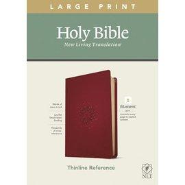 NLT Large Print Thinline Reference Bible, Aurora Cranberry Leatherlike (Filament)