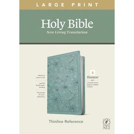 NLT Large Print Thinline Reference Bible, Floral Leaf Teal Leatherlike (Filament)