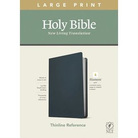 NLT Large Print Thinline Reference Bible, Navy Blue Genuine Leather (Filament)