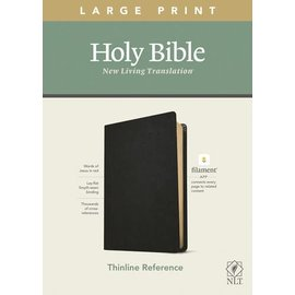 NLT Large Print Thinline Reference Bible, Black Genuine Leather (Filament)