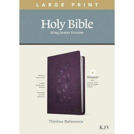 KJV Large Print Thinline Reference Bible, Floral Frame Purple Leatherlike (Filament)