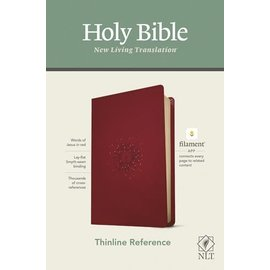 NLT Thinline Reference Bible, Aurora Cranberry Leatherlike (Filament)