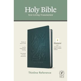 NLT Thinline Reference Bible, Earthen Teal Blue Leatherlike (Filament)