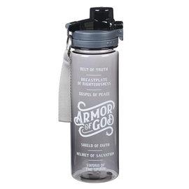 Plastic Water Bottle - Armor of God, Black
