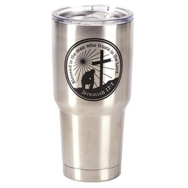 Stainless Steel Tumbler - Man of God, Silver