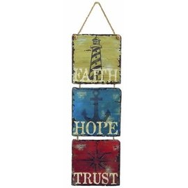 Wall Sign - Faith, Hope, Trust (Nautical)