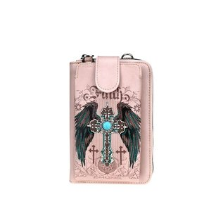 Phone Wallet - Montana West: Cross/Wings, Pink w/crossbody strap