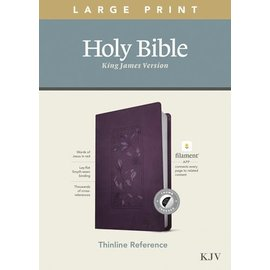 KJV Large Print Thinline Reference Bible, Floral Frame Purple Leatherlike, Indexed (Filament)