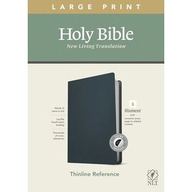 NLT Large Print Thinline Reference Bible, Navy Blue Genuine Leather, Indexed (Filament)