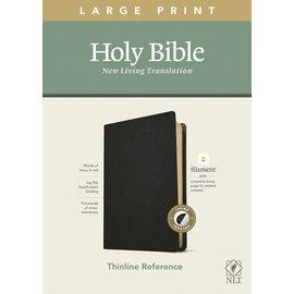 NLT Large Print Thinline Reference Bible, Black Genuine Leather, Indexed (Filament)