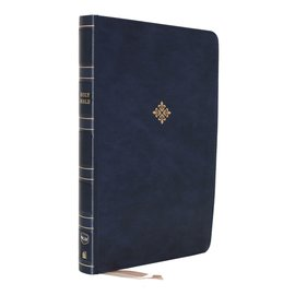 NKJV Large Print Thinline Bible, Blue Leathersoft