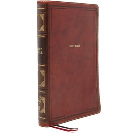 NKJV Large Print Thinline Reference Bible, Brown Leathersoft
