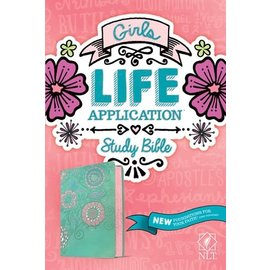 NLT Girls Life Application Study Bible, Teal/Pink Flowers TuTone