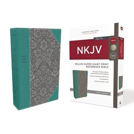 NKJV Super Giant Print Reference Bible, Turquoise/Gray Leathersoft