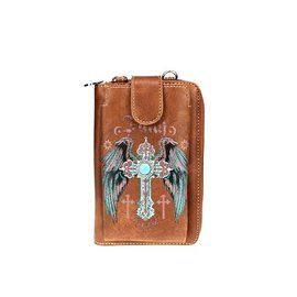 Phone Wallet - Montana West: Cross/Wings, Brown w/crossbody strap