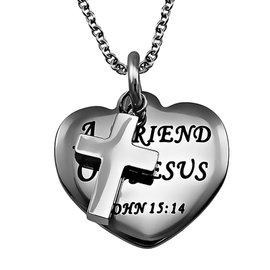 "Sweetheart Necklace: Friend of Jesus 18"" Stainless Steel"