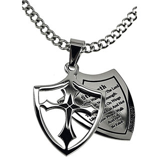 """2 Piece Shield Cross Necklace: Strength 24"""" Stainless Steel"""