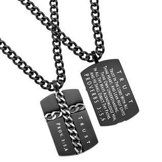 """Black Chain Cross Necklace: Trust 24"""" Stainless Steel"""