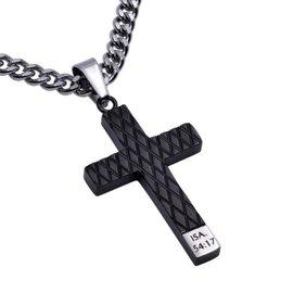 "Black Diamond Black Cross Necklace: No Weapon 24"" Stainless Steel"