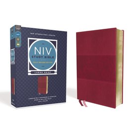 NIV Large Print Study Bible: Fully Revised Edition, Burgundy Leathersoft